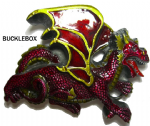 Dragon (red) - Heavy Belt Buckle + display stand